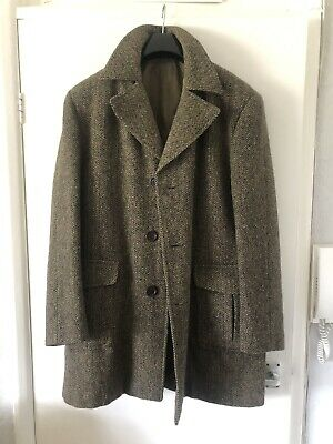 £140 • Buy Dunn & Co In Harris Tweed Autre Marque Hunting Shooting Long Coat  Green Brown