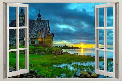 $29.74 • Buy Cabin Sunset 3D Window View Decal WALL STICKER Decor Art DIY Scenic View Lake