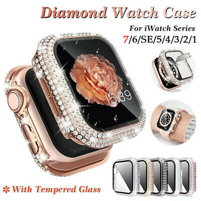 $ CDN7.77 • Buy Diamond Bumper Case Frame With Tempered Glass For Apple Watch Series 6 5 4 3 SE