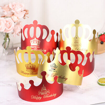 £2.99 • Buy 10x Kids Adults Happy Birthday Paper Hats Prince Princess Crown Party Decor Brpf