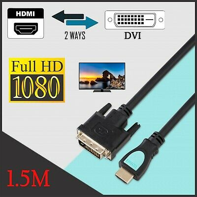 AU5.99 • Buy 1.5M HDMI To DVI Cable Male DVI-D For LCD Monitor Computer PC Projector DVD Lead