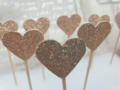 £2.99 • Buy ROSE GOLD Glitter Heart Cupcake Toppers/Flags Cake Decoration Wedding/Birthday