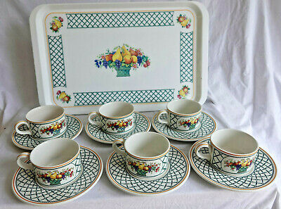 £80 • Buy VILLEROY BOCH ' BASKET ' 6 CUPS AND SAUCERS In Perfect Condition & MELAMINE TRAY