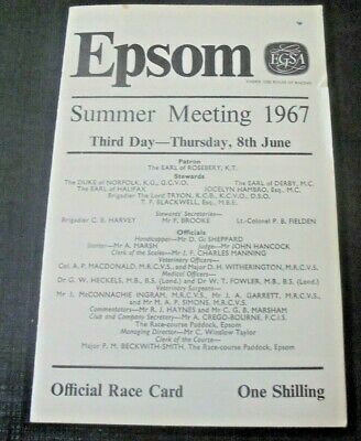 £12.95 • Buy Epsom Race Card June 8th, 1967 - The Coronation Cup & Charlottown