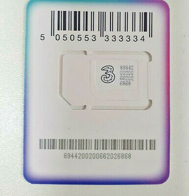 £4.50 • Buy 5G Three (3) Pre Loaded Sim Card With £10 Credit