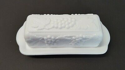 $19.95 • Buy Imperial Glass Butter Dish White Milk Glass Grape Ivy Pattern W Lid 6578