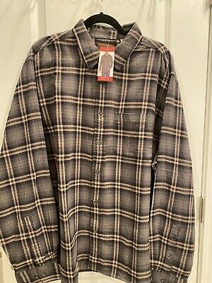$14.99 • Buy NWT Woolrich Mens Gray Plaid Two Sided Brushed Flannel Button Down Shirt - 3XL
