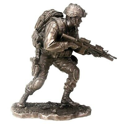 $79.98 • Buy On The Move US Armed Forces Soldier Holding Gun Statue Figurine Military New
