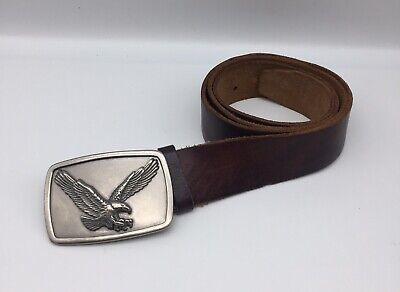 $22.49 • Buy FOSSIL Brown Leather Belt With Silver-tone Eagle Buckle Size 40