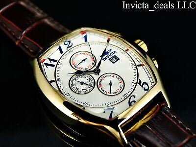 £53.91 • Buy Invicta Men's 43mm TONNEAU SPECIALTY White Dial 18K Gold 3 Straps Leather Watch