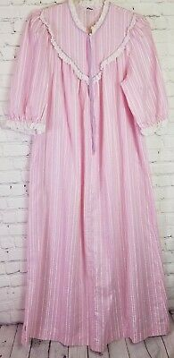 £15.88 • Buy KOMAR Vintage Womens Pink Striped Zip Front Size SMALL Long HOUSECOAT Robe S