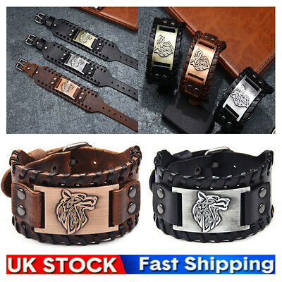 £5.99 • Buy 2021 NEW Mens Vintage Black / Brown Norse Viking Leather Bracelet Wristband Cuff