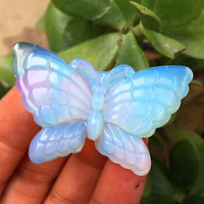 $14.09 • Buy 2  Natural Opal Quartz Crystal Skull Carved Reiki Healing Butterfly 1pc