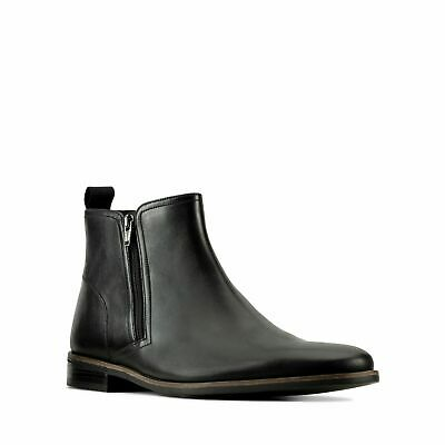 $14.59 • Buy Mens Clarks Stanford Zip Smart Casual Dress Chelsea Leather Boots Size UK 8