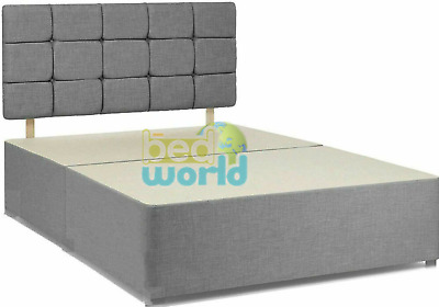 £154.99 • Buy Suede Fabric Divan Bed Frame 4ft 6 Double 5ft King Cube Headboard + Base Only
