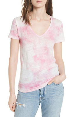 $37.99 • Buy MAJESTIC FILATURES Womens Linen Tie Dye V-Neck Deluxe Tee Shirt Small NWT $125