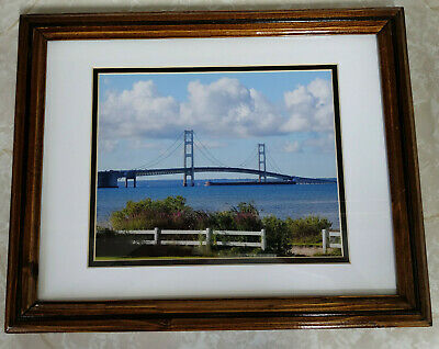 $48.88 • Buy Mackinac Bridge And Passing Freighter Picture Signed David Black Matted Framed