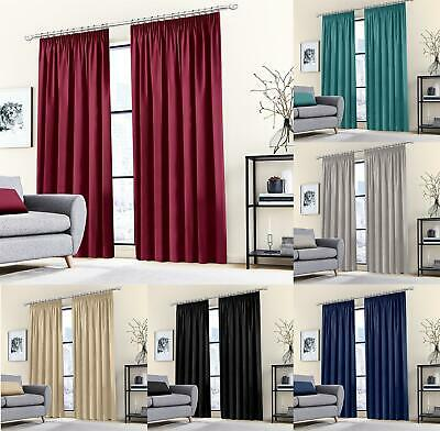£14.99 • Buy Thermal Blackout Curtains Pencil Pleated Ready Made Drapes 2 Panels Tie Backs