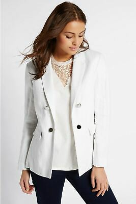 £27.50 • Buy MARKS & SPENCER PER UNA Ladies White Linen Blazer Jacket Silver Buttons RRP £50