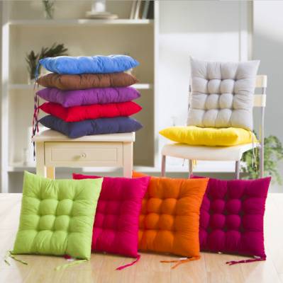 £8.99 • Buy 2/4/6/8/10x Seat Pad Dining Room Garden Kitchen Chair Seat Cushions Tie On Plain