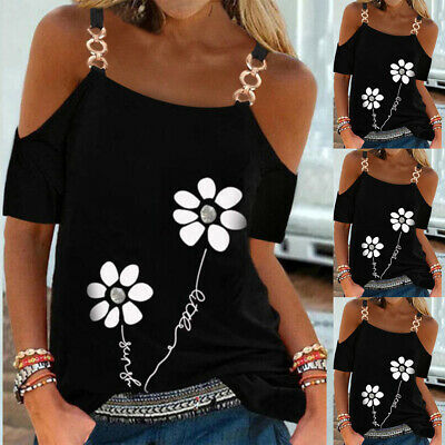 £11.31 • Buy Womens Flower Print T-shirt Chain Strappy Cold Shoulder Tops Short Sleeve Blouse