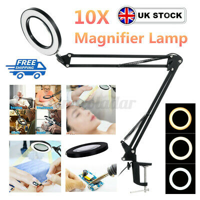 £19.59 • Buy 10X Magnifying Lamp LED Desk Lamp Magnifier Glass With Light Stand Clamp Beauty