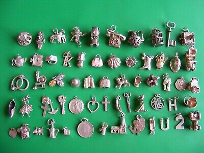 £9.99 • Buy T) Vintage Sterling Silver Charms Charm Bell Chim Car Cherub Horse Shoe Boot  H