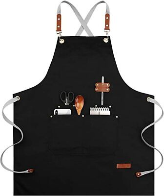 $29.79 • Buy Chef Apron-Cross Back Apron For Men Women, Cooking Aprons With Adjustable Straps