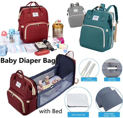 £18.99 • Buy Large Mummy Nappy Diaper Bag Baby Travel Changing Nursing Backpack With Bed USB