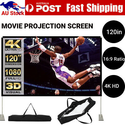 AU75.99 • Buy 120inch Projector Screen 16:9 HD Home Cinema Theater Foldable Outdoor Portable