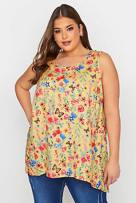 £15.98 • Buy Yours Women's Yellow Floral Print Sleeveless Top Plus Size Curve Yellow Size
