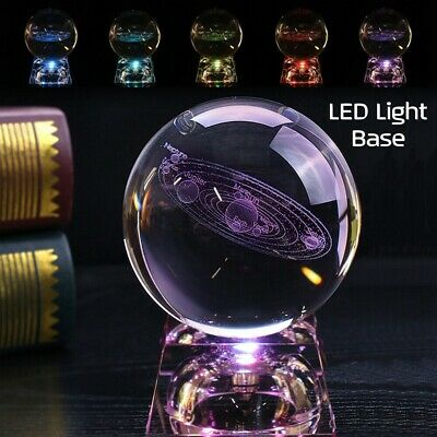 £12.55 • Buy Glass 3D 60mm Engrave Solar System Crystal Ball Sphere LED Stand Decoration Gift