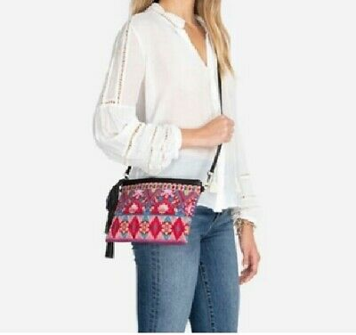 £87.26 • Buy Johnny Was Crossbody Bag Laurelle Fringed  Embroidered Clutch $170 NWT Gorgeous