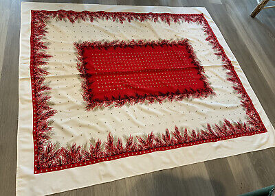 $ CDN31.47 • Buy Vintage Rectangle Christmas Tablecloth, Stars, Fir Branches, Red, Gold, Ivory