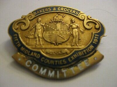 £15 • Buy Rare Old 1911 Bakers And Grocers Exhibition Committee Enamel Brooch Pin Badge