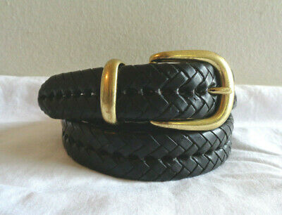 $16.99 • Buy Coach Sz 38 Black Braided Leather Belt Woven Solid Brass Buckle 5922