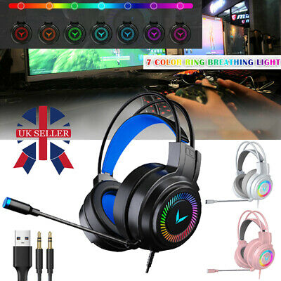 £9.98 • Buy Gaming Headset RGB LED Wired Headphones Stereo + Mic For One/PS4 PC Xbox NEW