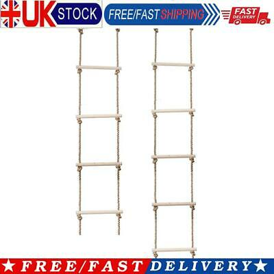 £20.28 • Buy Wooden Rope Ladder Multi Rungs Children Climbing Toy Safe Sports Rope Swing