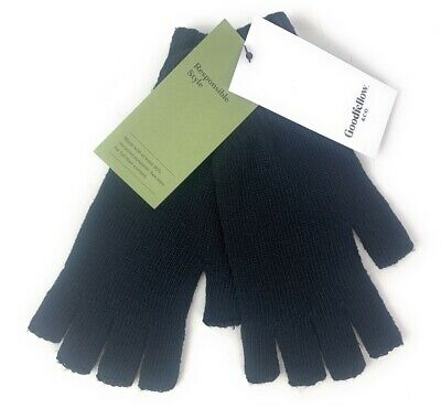 $5 • Buy Goodfellow & Co Mens Fingerless Gloves Black Recycled Knit Winter Texting OS New