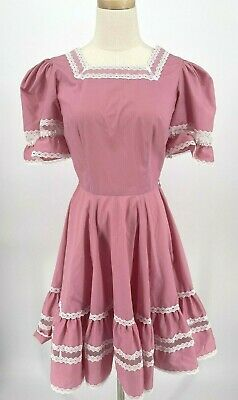 $29.99 • Buy Square Dance Circle Skirt Pink Lace Dress Rockabilly With Partner Tie