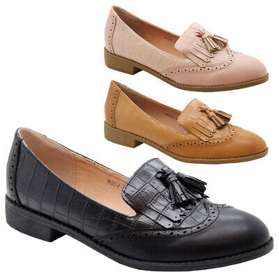 £11.95 • Buy Women Flat Brogue Loafers Comfy Work Office Classy Pumps Ladies School Shoes 3-8