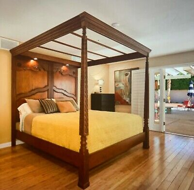 $1899 • Buy Cal King Bed Frame ~ 4 Poster Bed ~ Traditional Mahogany 4 Post Bed