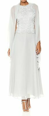 $47.49 • Buy J Kara Womens Milky White Size 6 Scallop Embellished 2 Pc Long Gown $255 952
