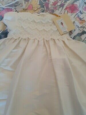 £9 • Buy JOHN LEWIS Girls Silk Scallop Lace Short Gown Christening Age 3-6 Month RRP£50