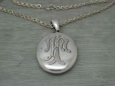 £94.99 • Buy Superb Antique Victorian Sterling Silver Oval Photo Locket & Silver Chain C1890