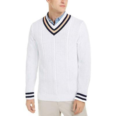 $13.99 • Buy Club Room Mens Sweater White XL V-Neck Textured Cricket Cable-Knit $65- #418