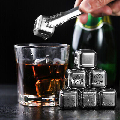 £4.99 • Buy 6/8pcs Whiskey Stones W Tongs Whisky Ice Cubes Rocks Stainless Steel Reusable UK