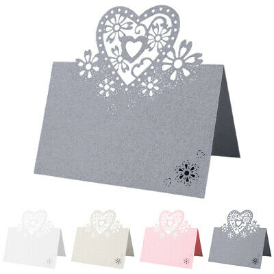 £13.09 • Buy Wedding Love Heart Place Name Pearlescent Card Birthday Party Table Setting Card