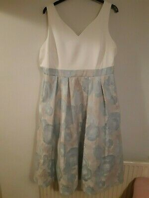 £40 • Buy Coast Occasion Dress In Blue And White With Floral Skirt - Size 26 - Worn Once