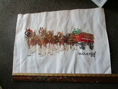 $ CDN42.01 • Buy  Vtg 1988 Original Budweiser Clydesdales Beer Cross Stitched Embroidered Sign